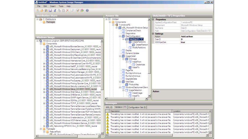 Partitionierung: Die Konfiguration von Festplatten lässt sich flexibel über Antwortdateien steuern.