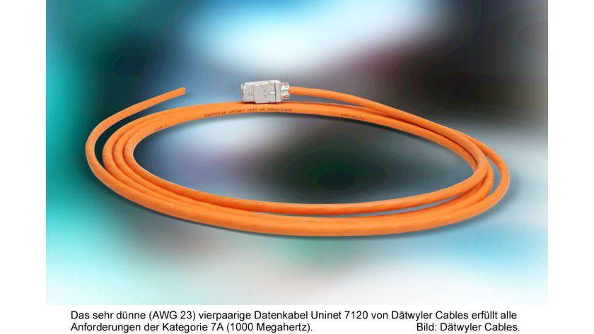 Cat.7A mit nur 7,4 mm Durchmesser: Das neue Kabel von Dätwyler spart Platz und Gewicht.