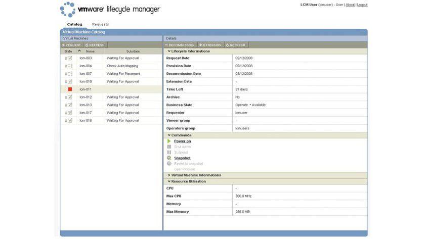 Kontrolle über virtuelle Umgebung: Der VMware Lifecycle Manager listet einen Katalog der virtuellen Maschinen auf. (Quelle: VMware)