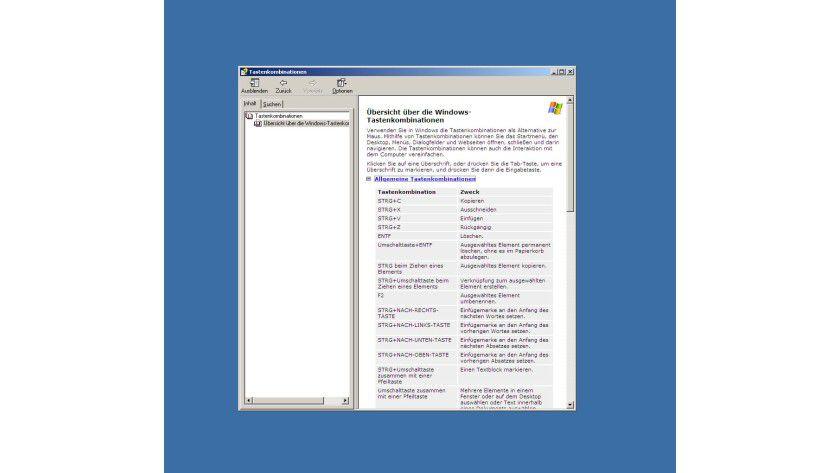 Überblick: Sie können sich direkt in Windows einen Überblick über alle Shortcuts verschaffen.