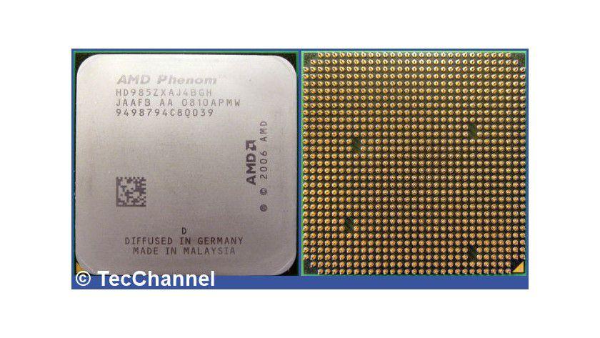 Topmodell Phenom X4 9850 Black Edition: Der 65-nm-Quad-Core-Prozessor für den Sockel AM2+ arbeitet mit 2,5 GHz Taktfrequenz. Der Multiplier der Black Edition ist frei wählbar.