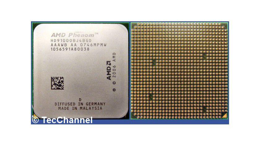 Einsteigermodell Phenom X4 9100e: Die Quad-Core-CPU arbeitet mit 1,8 GHz Taktfrequenz und wird mit 65 Watt TDP spezifiziert.