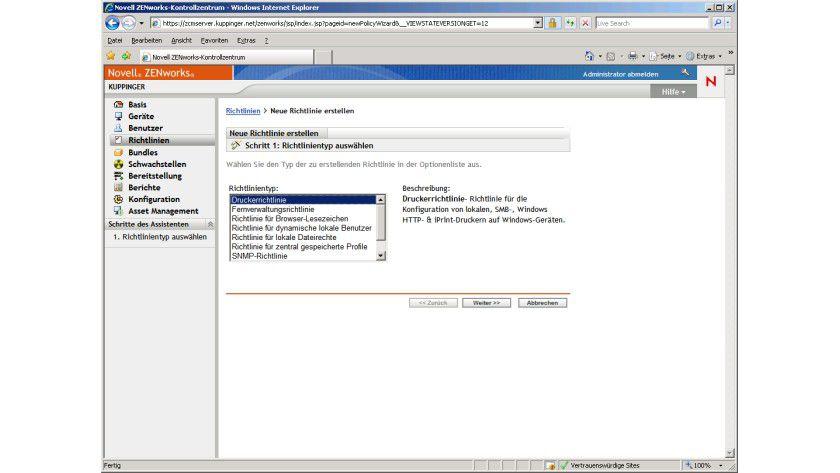 Richtlinien: Über Richtlinien wird die Konfiguration der vom ZCM verwalteten Systeme gesteuert.