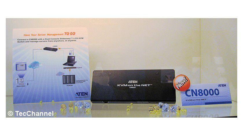 Managemant-Box: Das CN8000-System von Aten bietet Virtual-Media-Unterstützung und Over-IP-Ansteuerung.