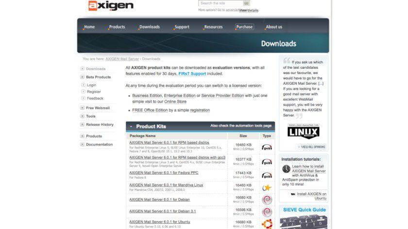 Artenreich: Axigen 6.0.1 gibt es für viele verschiedene Plattformen.