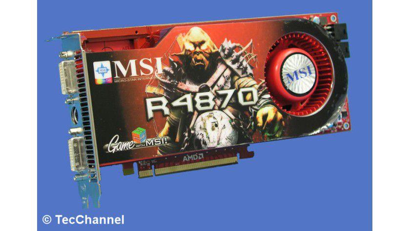 Der Nvidia-Herausforderer: Eine Grafikkarte mit dem Radeon HD 4870 repräsentiert das neue Top-Modell aus dem Hause ATI. Im Bild sehen Sie das Modell R4870 T2D512 von MSI. Damit wäre diese Karte das Pendant zu den Grafikkarten mit den GTX-280-GPUs von Nvidia.