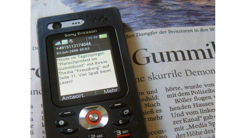 Bestell-SMS für den Tagesspiegel. Foto: Tagesspiegel