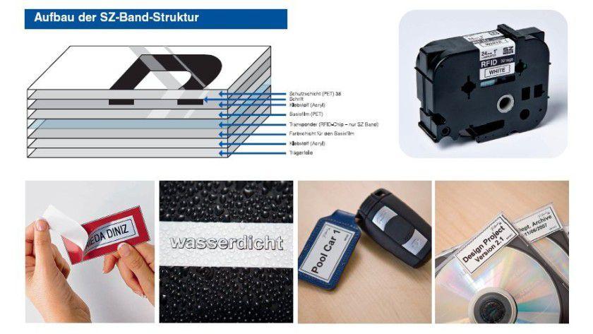 RFID-Etiketten: Die RFID-Chips sind in das laminierte Band integriert und lassen sich wiederbeschreiben. (Quelle: Brother)