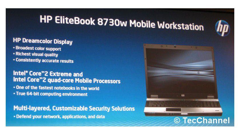 Vierkerniges Notebook: Hewlett-Packard kündigte das EliteBook 8730w mit Intels mobilem Quad-Core-Prozessor auf dem Intel Developer Forum an.