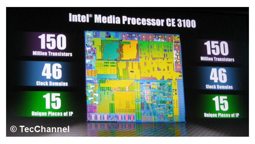 Media-Prozessor: Intels CE3100 verfügt über ein SoC-Design und vereint einen x86-Kern, Grafik, Speicher-Controller und Media-Decoder auf einem Siliziumplättchen.