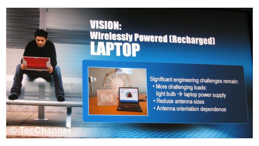 Kabelloses Laden: Intel arbeitet an der Vision, Energie in Notebooks drahtlos zu übertragen. Damit wäre ein Aufladen des Akkus ohne Kabel möglich.