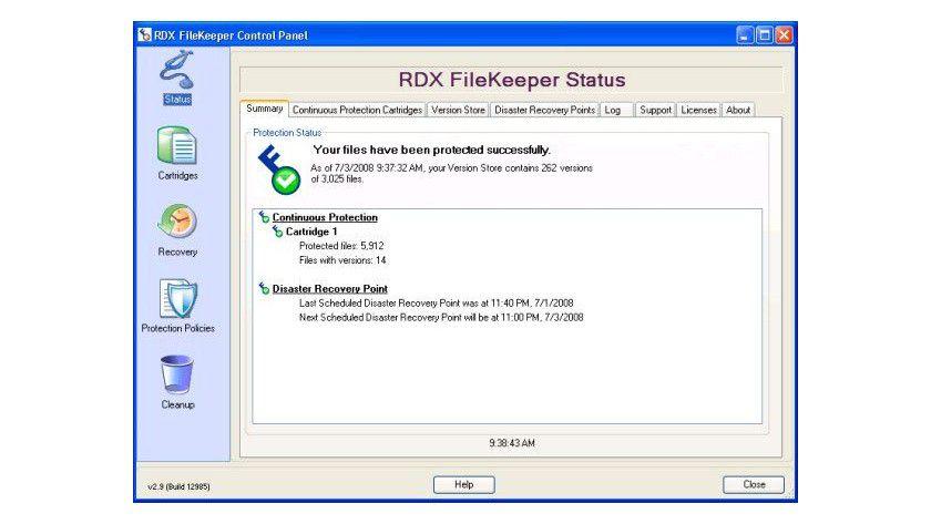 RDX Filekeeper: Statusmitteilung der Backup-Software, die mit dem RDX QuikStor mitgeliefert wird. (Quelle: Tandberg)