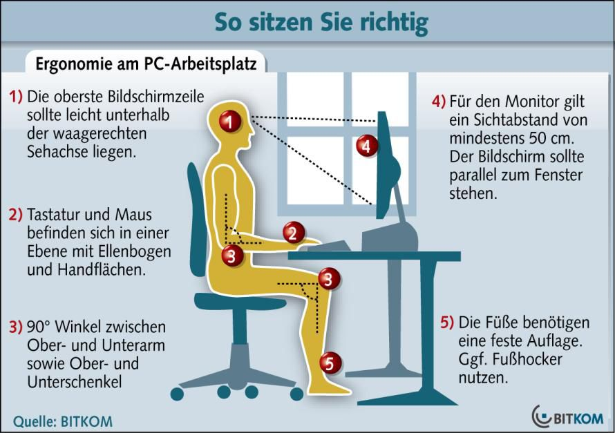 bild ergonomie am pc arbeitsplatz hinweise zum richten sitzen quelle bitkom. Black Bedroom Furniture Sets. Home Design Ideas