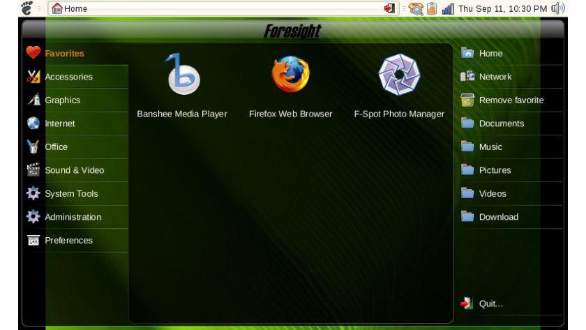 Für unterwegs: Das Hauptmenü der Foresight Linux Mobile Edition. (Quelle: Foresight Linux)