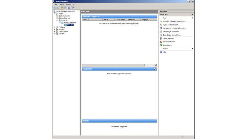 Schaltzentrale: Virtuelle Maschinen und der Hyper-V werden im Servermanager verwaltet.
