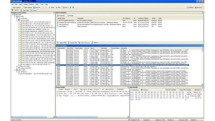 Wer mit wem: Network Monitor zeigt den Datenverkehr zwischen Sender und Empfänger an.