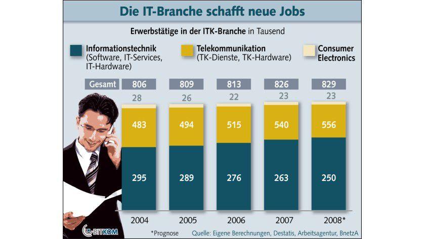 Erwerbstätige in der IT-Branche: Das Wachstum fällt 2008 geringer aus als im Vorjahr. (Quelle: BITKOM)