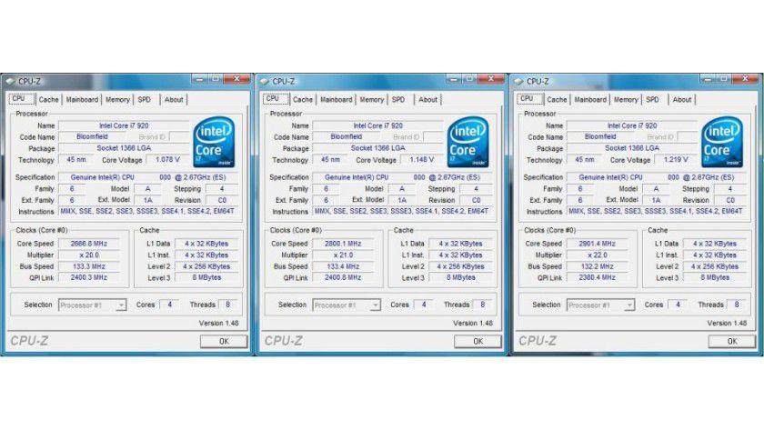 Hochgetaktet: Links im Bild ist der Turbo Mode des Core i7 920 deaktiviert – die CPU arbeitet mit 2,67 GHz. In der Bildmitte erhöht der Turbo Mode die Taktfrequenz um einen Speed Bin auf 2,80 GHz. Bei einem Single-Thread-Programm steigt der Arbeitstakt auf 2,93 GHz, wie im Bild rechts zu sehen ist.