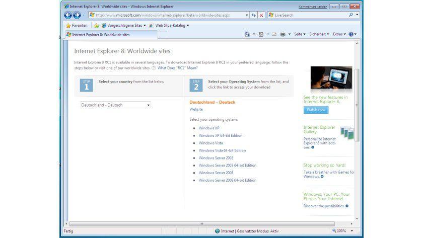 Nicht für Windows 7: Microsoft bietet den RC1 des Internet Explorer 8 nicht für die Windows-Betaversion an.