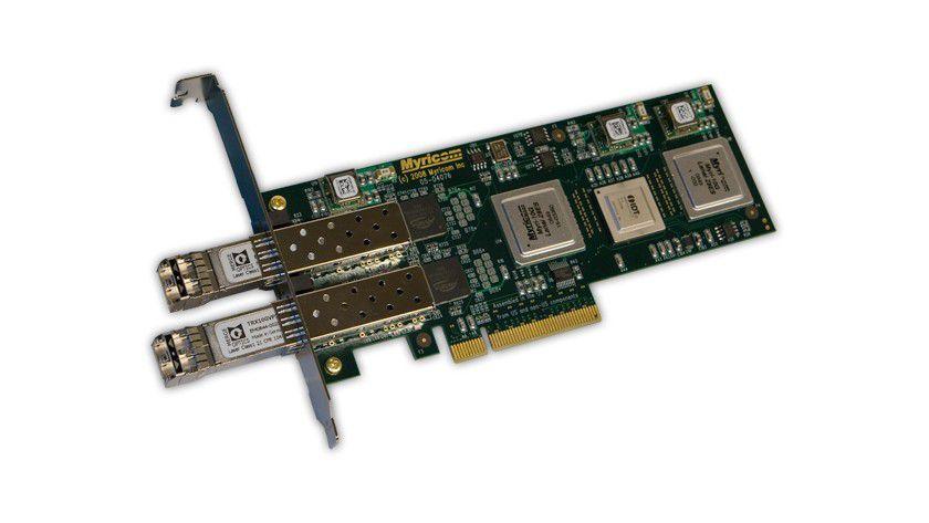 Hoher Durchsatz mit einer Karte: Die 10G-PCIE2-8B2-2S nutzt PCI-Express und Gigabit-Ethernet für bis zu 19,8 Gb/s.