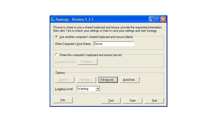 Synergy: Das Programm muss für den Master und die Slave-Computer unterschiedlich konfiguriert werden.