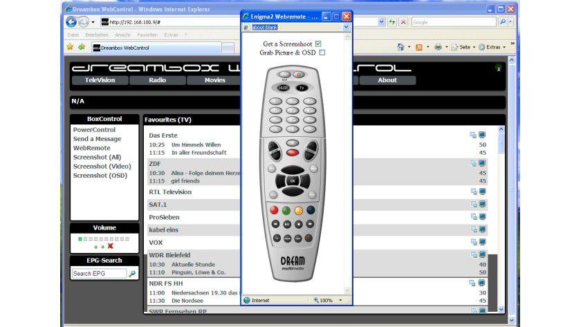 Nur für Ausnahmefälle: Die virtuelle Fernsteuerung am PC simuliert den Tastendruck vor Ort im Wohnzimmer.