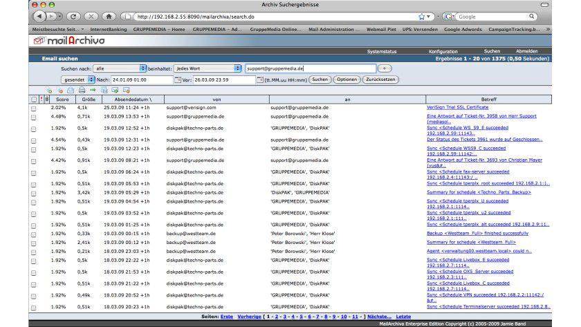 MailArchiva 1.9.0d: Die neue Version unterstützt ab sofort digitale Signierung archivierter Daten.
