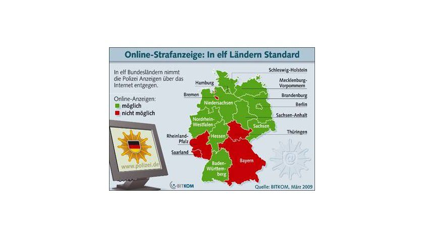 """""""Weiße Flecken"""" auf der Landkarte: Die rot markierten Bundesländer bieten noch keinen Polizeiservice per Internet an. (Quelle: BITKOM)"""