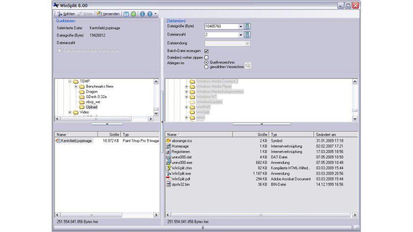 Spalter: Mit der Shareware WinSplit lassen sich große Dateien einfach in mehrere kleine Stücke aufteilen.