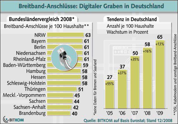 Breitbandversorgung: Zirka 40 Prozent aller Haushalte müssen noch ohne Breitbandanbindung auskommen. (Quelle: Bitkom)