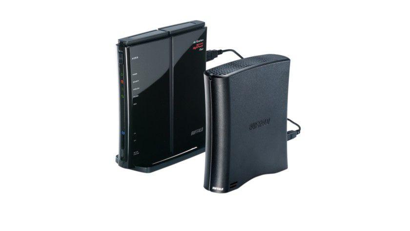 Mit USB-Port: Buffalos WZR-HP-G300NH erlaubt den Anschluss von Speichermedien für NAS-Funktionen.