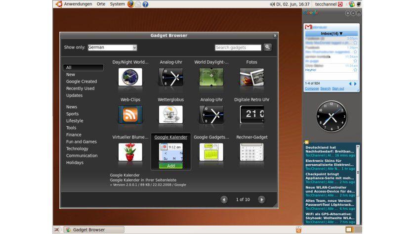 """Google Gadgets: In Ubuntu 9.04 """"Jaunty"""", Fedora 10 und Mandriva schon in den Repositories enthalten."""