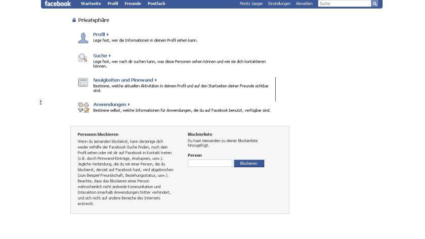 Sicherheitszentrale: die Privatsphäre-Einstellungen von Facebook.