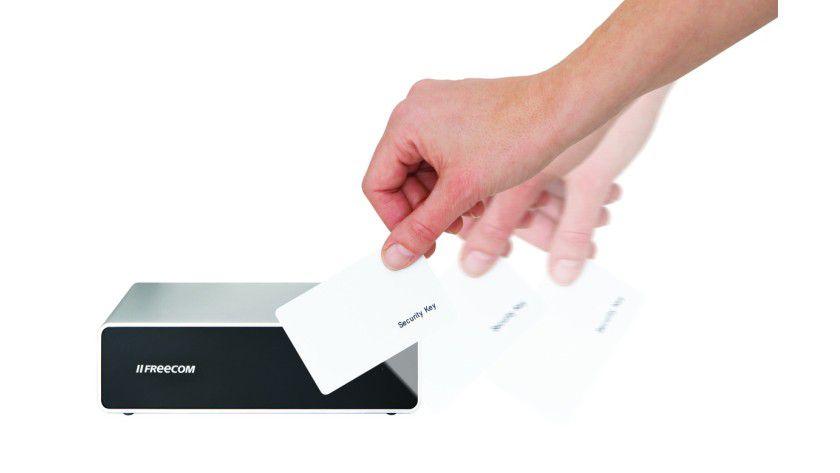 Hard Drive Secure: Der Zugang wird über einen RFID-Schlüssel im Scheckkartenformat geregelt. (Quelle: Freecom)