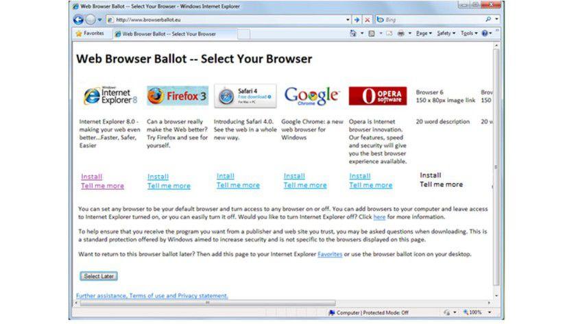Browser-Wahl: Der Screenshot zeigt, wie sich Microsoft die Auswahl des zu verwendenden Browsers bei Windows 7 vorstellt. Dieser Vorschlag liegt der EU zur Prüfung vor. (Quelle: Microsoft)