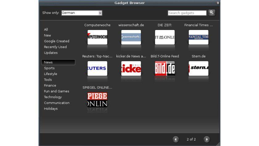 Gadget Browser: Für deutsche Sprache stehen auch einige Gadgets zur Verfügung. In den meisnte Fällen sind das jedoch einfach RSS-Feeds.