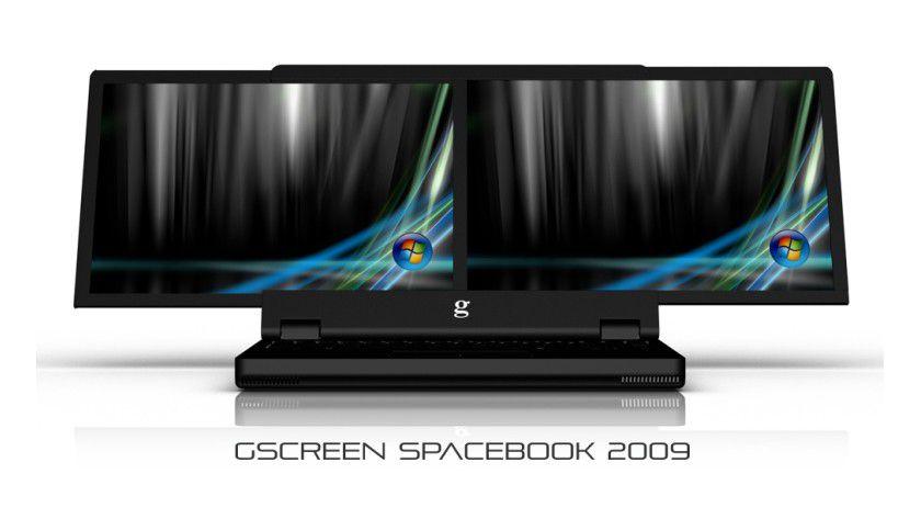 Zielsetzung: Wenn denn alles wie von gScreen gewünscht klappt, soll das Spacebook einmal zwei nebeneinander zu betreibende Displays bieten. (Quelle: gScreen)