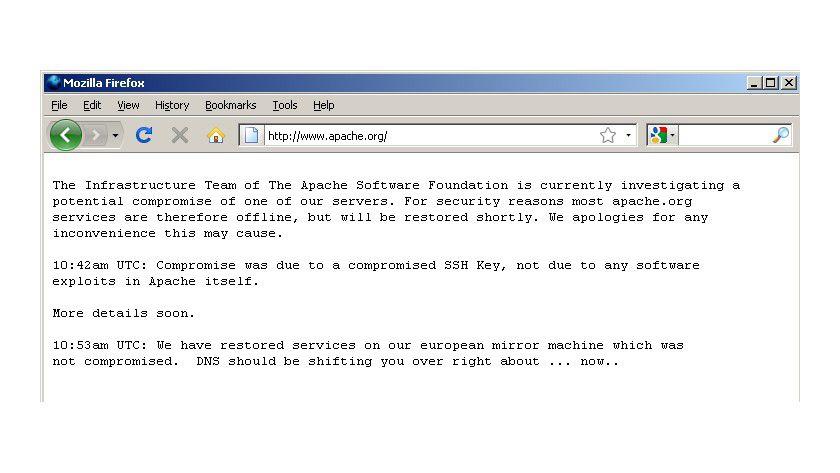 Apache Downtime: Die Macher entschieden sich für einen Downtime, während der DNS-Eintrag auf einen anderen, unkompromittierten Server umgeleitet wurde. (Quelle: F-Secure)