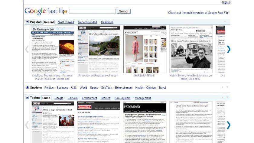 Google Fast Flip: Eine Präsentationsplattform für Nachrichteninhalte.