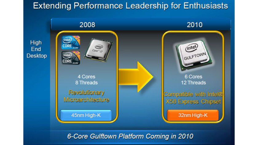 Core i9 Extreme: in der ersten Jahreshälfte 2010 bringt Intel mit Gulftown eine neue Extreme Edition mit sechs Kernen auf den Markt.