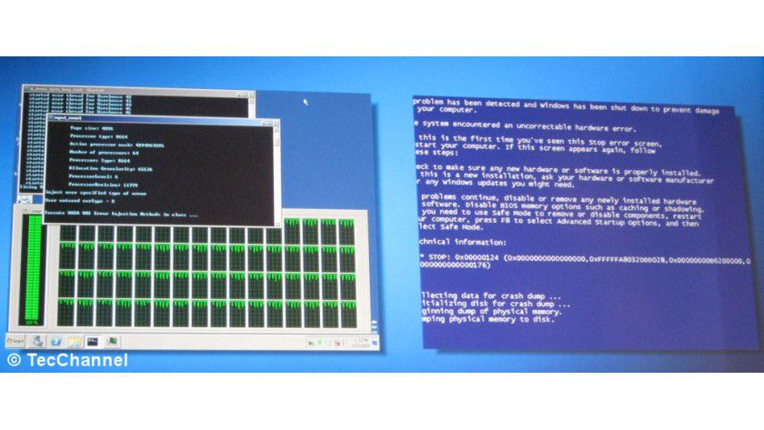 Stabil: Trotz eines absichtlich herbeigeführten Hardware-Defekts läuft das Nehalem-EX-System mit aktivem MCA (links im Bild) weiter. Ohne MCA stürzt der Server ab (rechts im Bild).