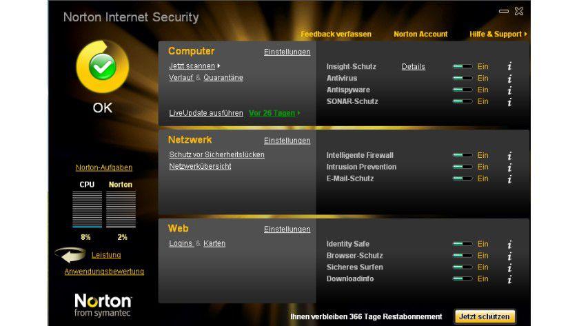 Home-Screen: Die Oberfläche des neuen Norton Internet Security 2010.