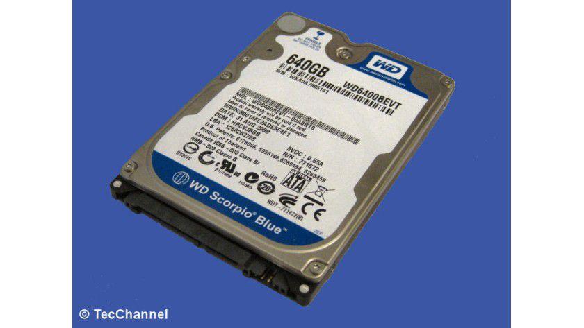 Western Digital Scorpio Blue WD6400BEVT: Die 2,5-Zoll-Festplatte realisiert 640 GByte Kapazität mit zwei Magnetscheiben. Das Laufwerk arbeitet mit 5400 U/min und ist mit einem 8 MByte großen Cache ausgestattet.