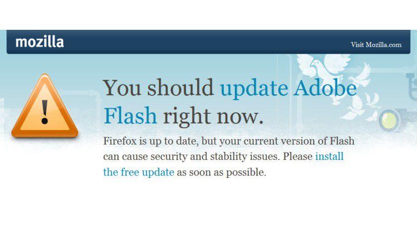 Warnung: In diesem Beispiel aus Firefox 3.6 ist das Flash-Plugin unsicher. (Quelle: Mozilla)