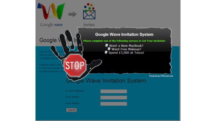 Spam statt Einladung: Adresssammler nutzen den Hype um Wave, um an Nutzerdaten zu gelangen. (Quelle: Trend Micro)