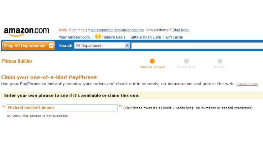 Geht nicht: Deutsche Wörter sind in der Payphrase nicht erlaubt.