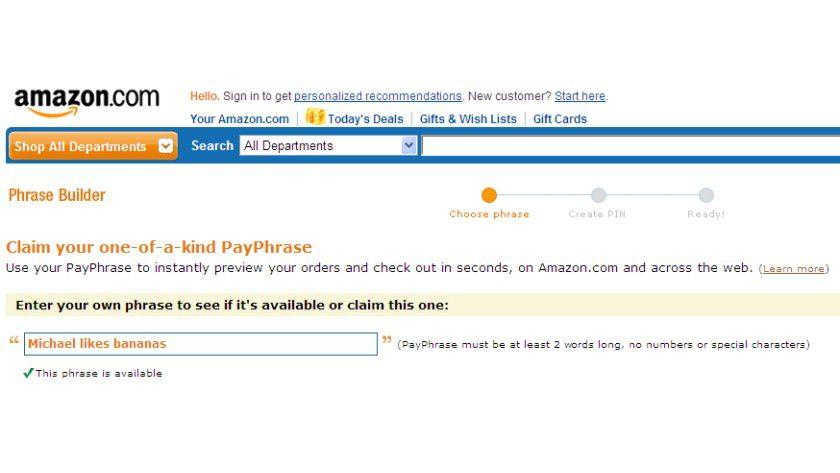 PayPhrase: Englische Phrasen sind noch reichlich frei, so dass man sich seinen Lieblingsspruch noch aussuchen kann.