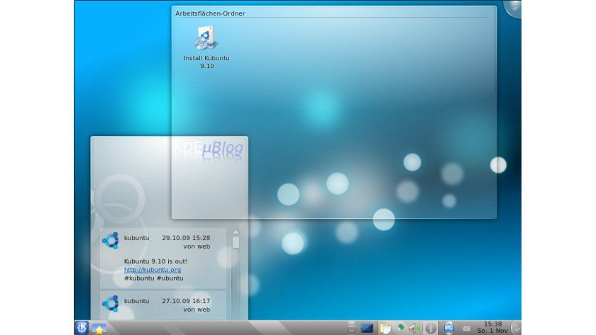 Ubuntu-Ableger: Kubuntu bringt den Desktop-Manager KDE 4.3 mit sich.