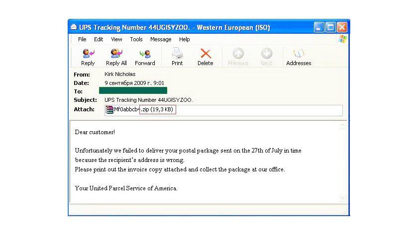 Malware im Anhang: Die angebliche UPS-Mail bringt im Anhang keine Informationen sondern schädliche Daten. (Quelle: Kaspersky)