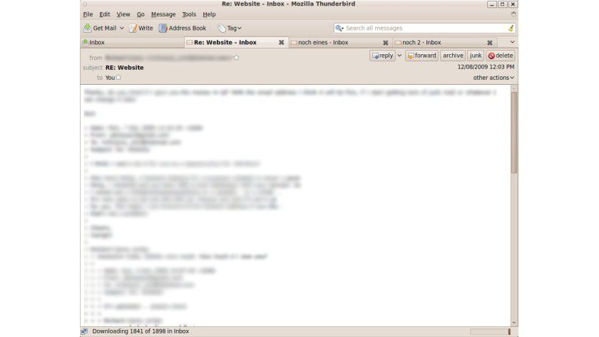Thunderbird 3: Wie bei Browsern lassen sich nun auch Tabs einsetzen.